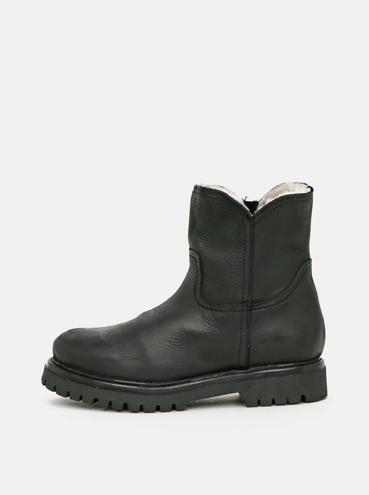 OJJU Čierne dámske kožené zimné topánky OJJU