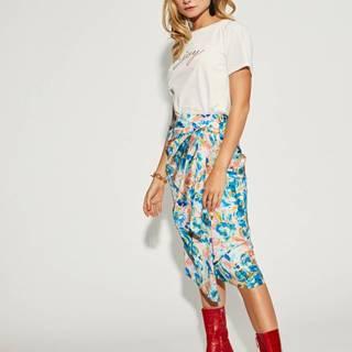 Ružovo-modrá kvetovaná zavinovacia sukňa VILA Akvaralla