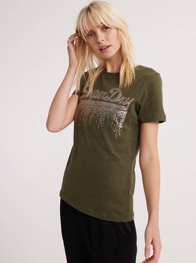 Superdry Kaki dámske tričko s potlačou Superdry