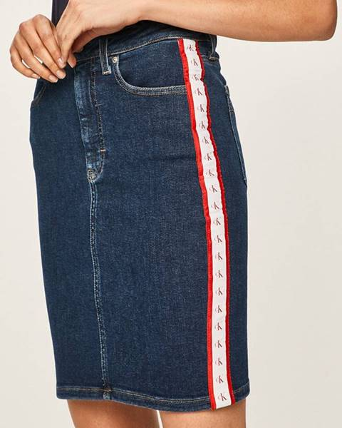 Tmavomodrá sukňa Calvin Klein Jeans