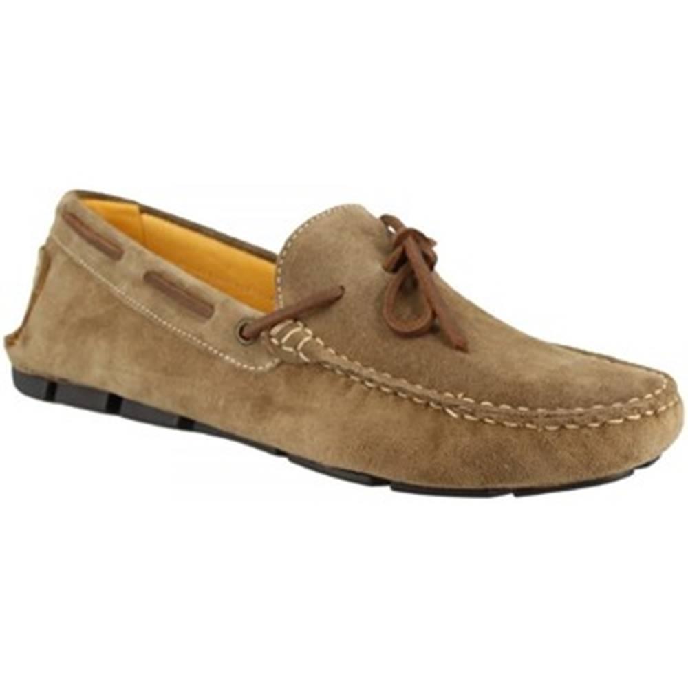 Leonardo Shoes Mokasíny  502 CAMOSCIO TAUPE TASSELLI