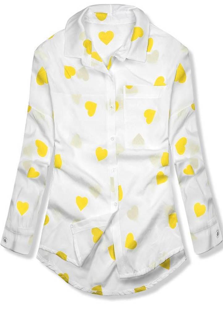 Bielo-žltá košeľa so srdieč...