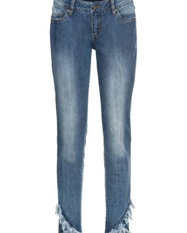 Skinny džínsy, skrátené, rozstrapkané konce
