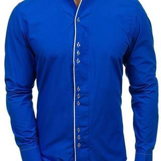 Kobaltová pánska košeľa s dlhými rukávmi