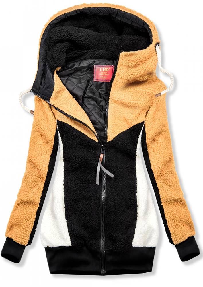 Žlto-čierna kožušinová bunda