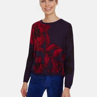 Tmavomodrý kvetovaný sveter s rozparkom na chrbte Desigual