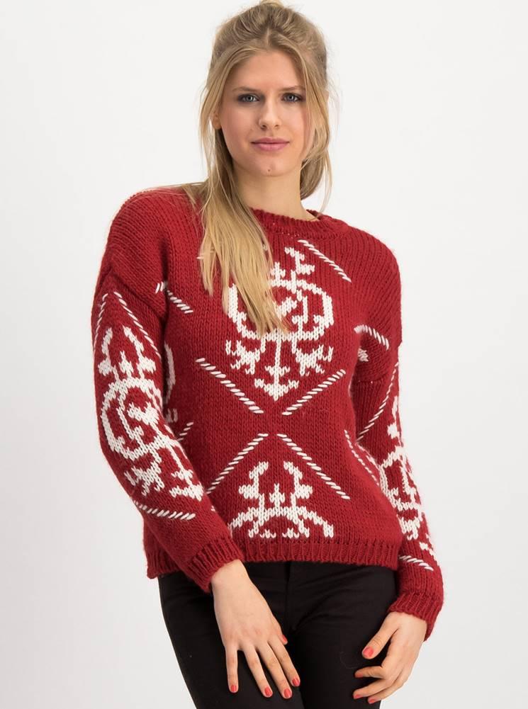 Blutsgeschwister Červený vzorovaný sveter s prímesou vlny Blutsgeschwister Molly Wolly
