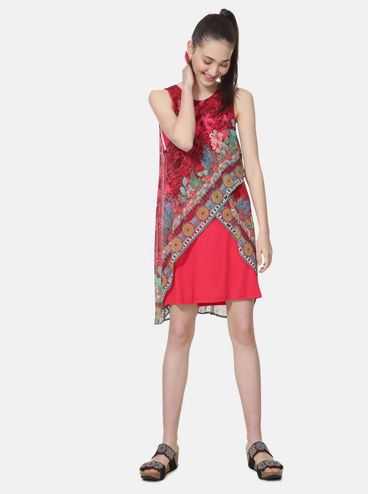 Tmavoružové vzorované šaty ...