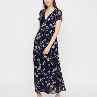 Tmavomodré kvetované maxišaty s prekladanou sukňou VERO MODA Amsterdam