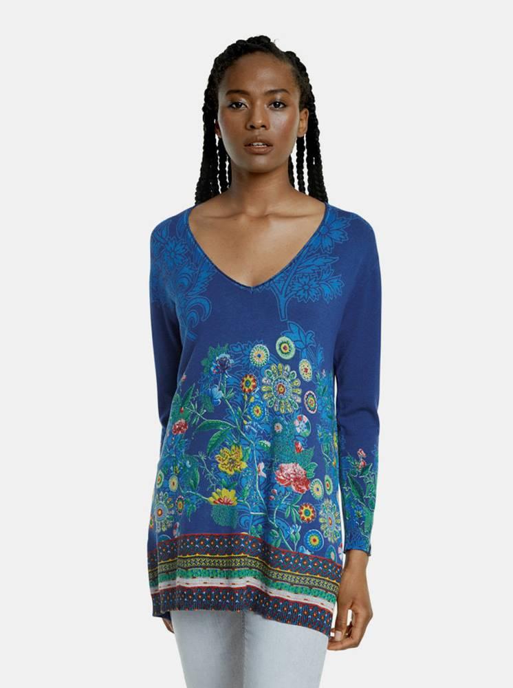 Desigual Modrý vzorovaný dlhý sveter Desigual