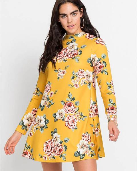 bonprix Džersejové šaty s kvetovanou potlačou