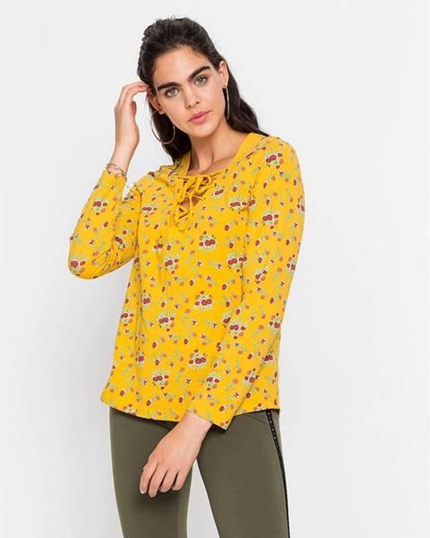 bonprix Tričko s dlhým rukávom so šnurovaním a kvetovanou potlačou