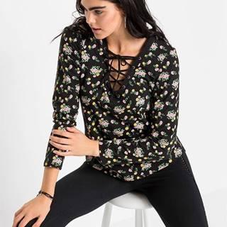 Tričko s dlhým rukávom so šnurovaním a kvetovanou potlačou