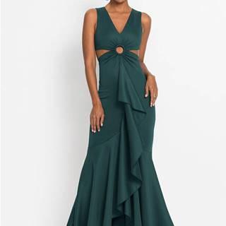 Maxi šaty s prestrihmi a volánmi