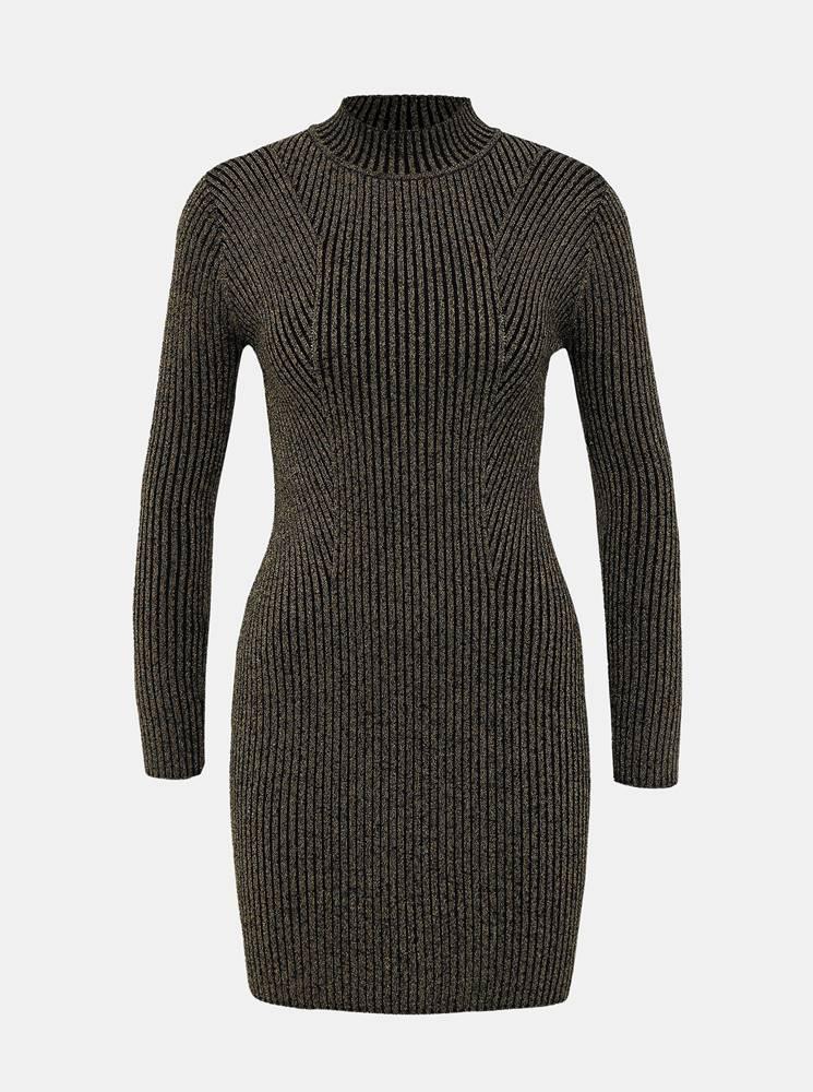 TALLY WEiJL Svetrové púzdrové šaty ve zlato-čiernej farbe TALLY WEiJL Kelly