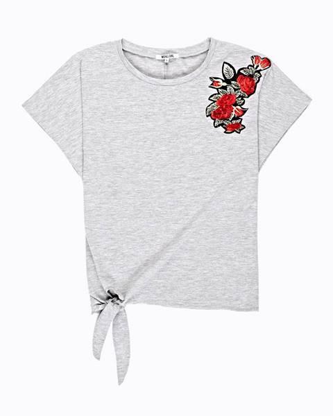 GATE Tričko s kvetinovou nášivkou