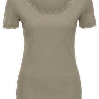 bonprix Vrúbkované tričko s čipkou, krátky rukáv