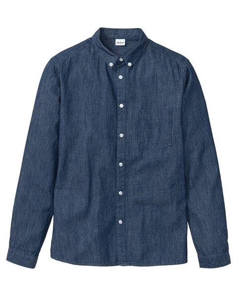 bonprix Dlhá džínsová košeľa Slim Fit