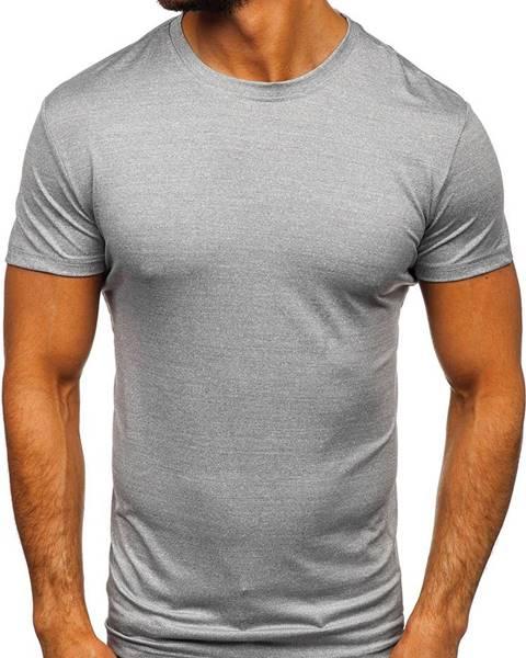 J.STYLE Antracitové pánske tričko bez potlače