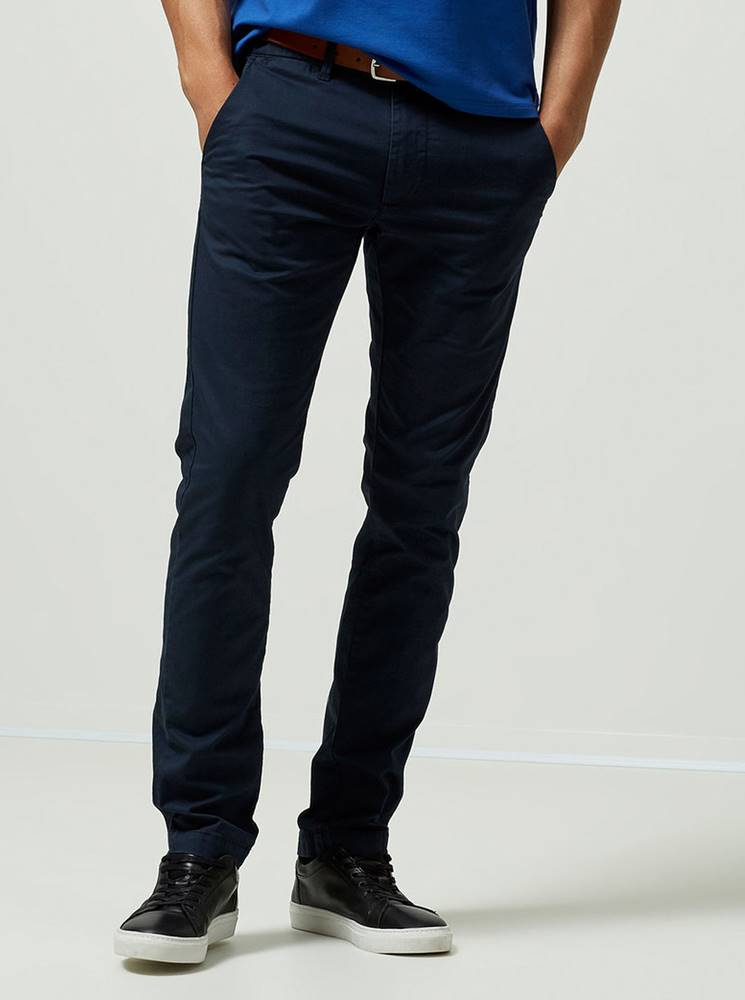 Selected Homme Tmavomodré slim fit chino nohavice s opaskom Selected Homme Yard