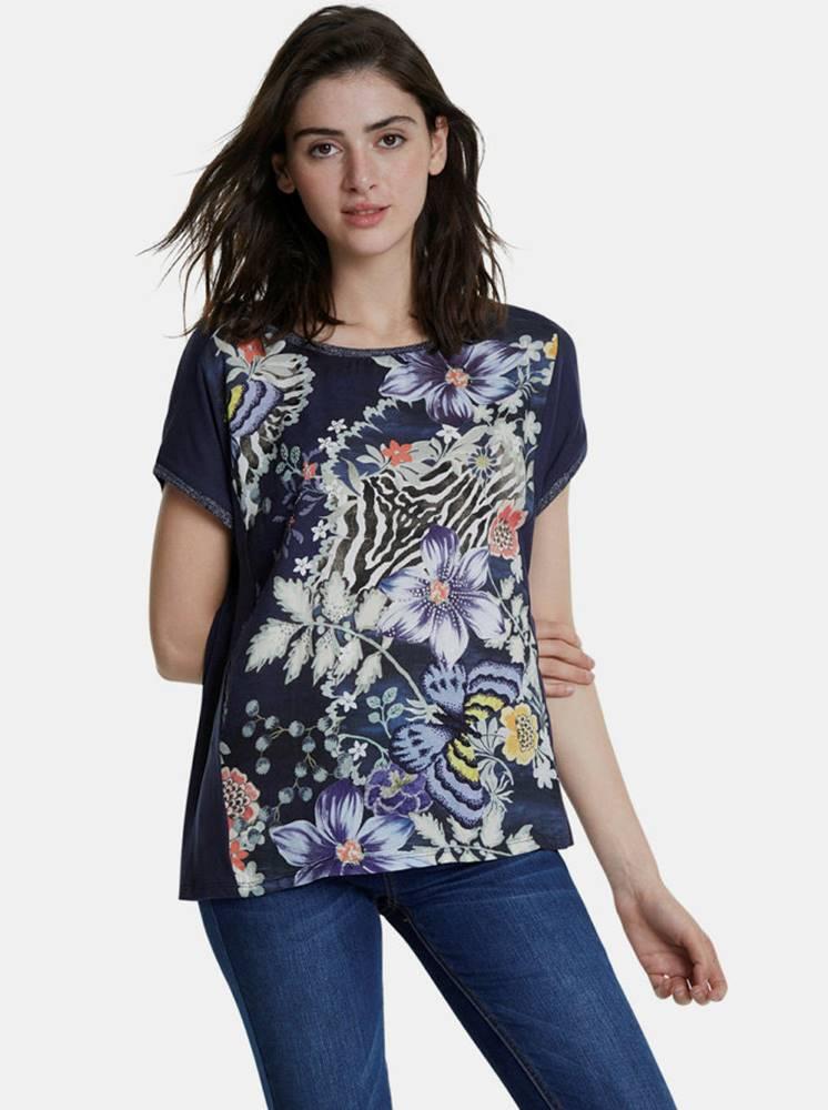 Desigual Tmavomodré kvetované tričko Desigual Edimburgo