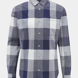 Bielo-modrá kockovaná slim fit košeľa Jack & Jones Indie