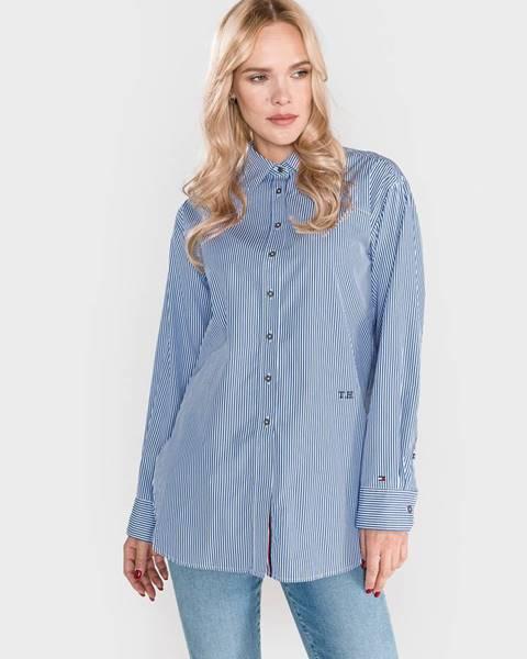 Modrá košeľa na gombíky Tommy Hilfiger