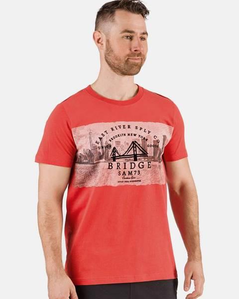 SAM 73 Červené pánske tričko s potlačou SAM 73