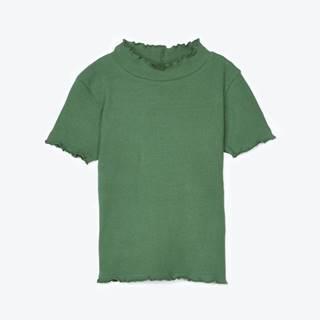 Rebrované tričko s krátkym rukávom a so stojačikom