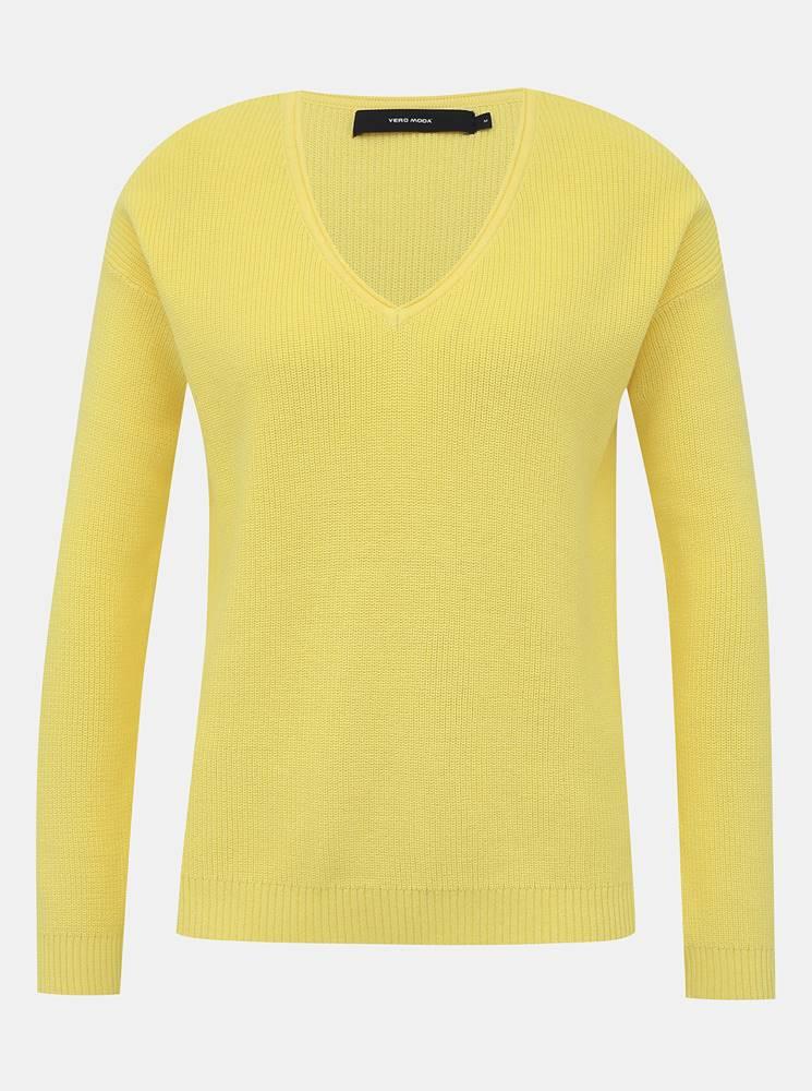 Vero Moda Žltý basic sveter VERO MODA Lexa