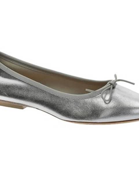 Strieborné balerínky Leonardo Shoes