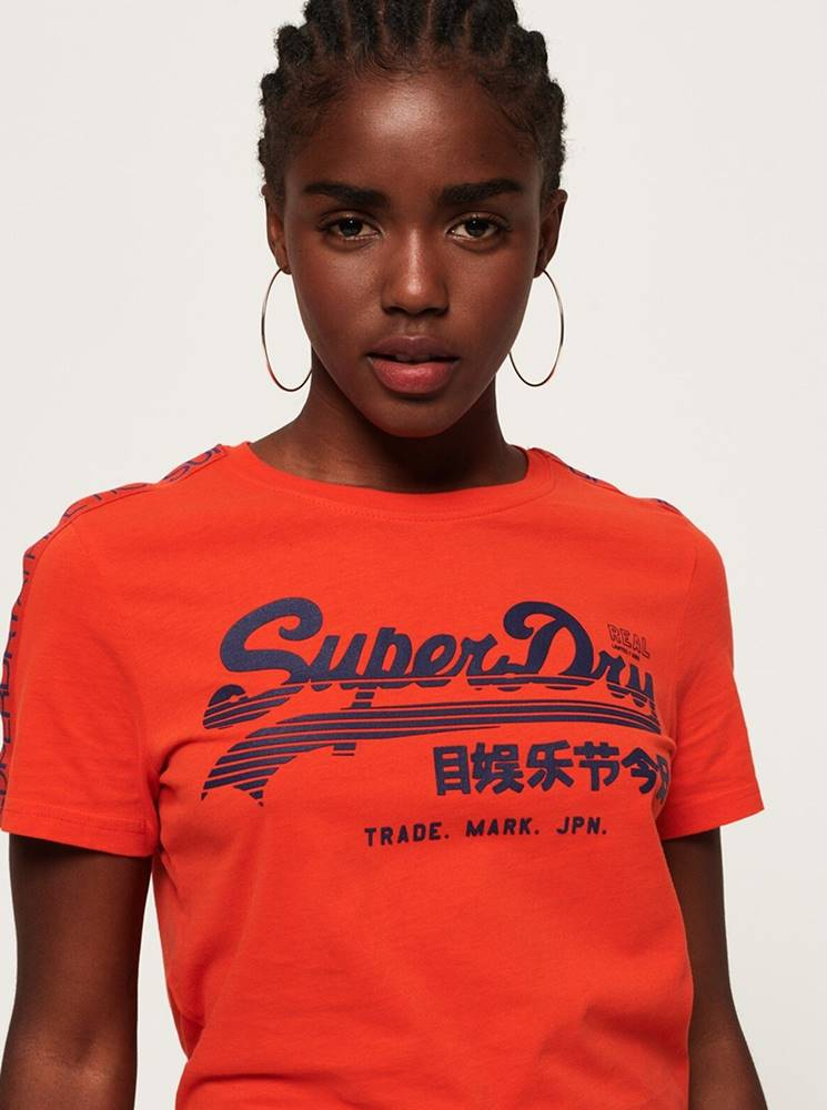 Superdry Oranžové dámske tričko s potlačou Superdry
