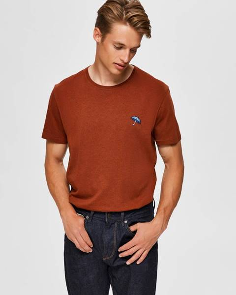 Hnedé tričko Selected Homme